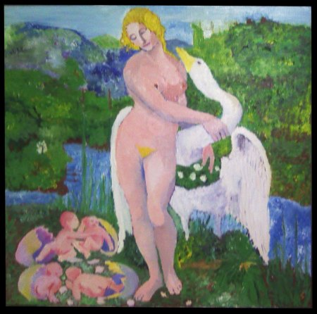'Leda and the Swan' Oil on wood. 2' x 2'