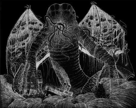 """The Call of Cthulu. Inverse of an ink drawing. 11"""" x 14"""""""