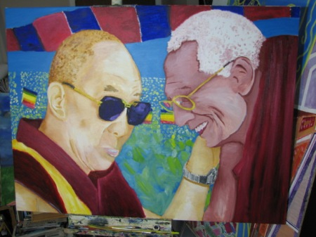 'Hello, Dalai!' Oil on canvas. 2' x 3'.
